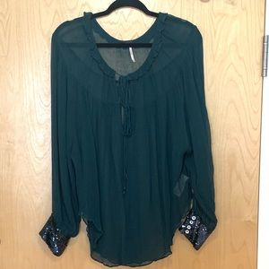 Free People Sheer Sequin Slv Emerald Grn Tunic Top